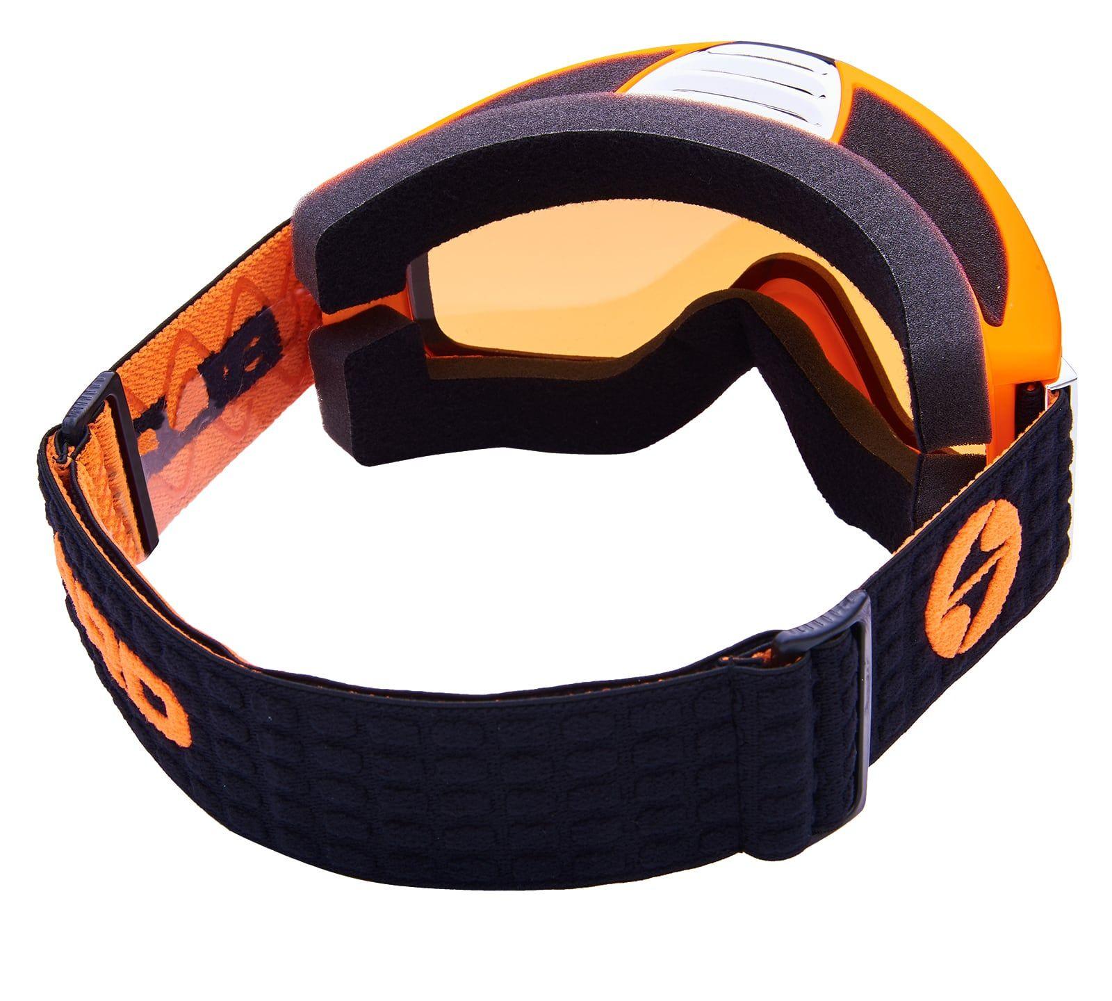 BLIZ Ski Gog. 933 MDAVZS, neon orange matt, amber2, blue mirror