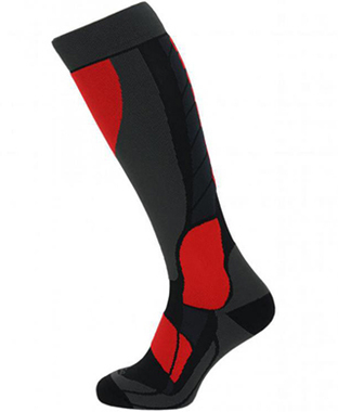 Compress 120 ski socks, black/grey/red