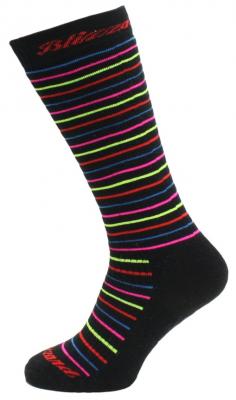 Viva Allround ski socks junior, black/rainbow stripes
