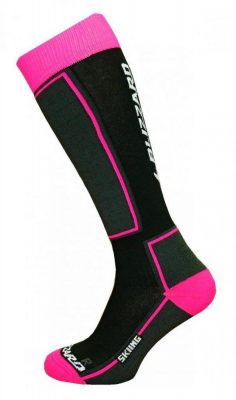 Skiing ski socks junior,black/pink